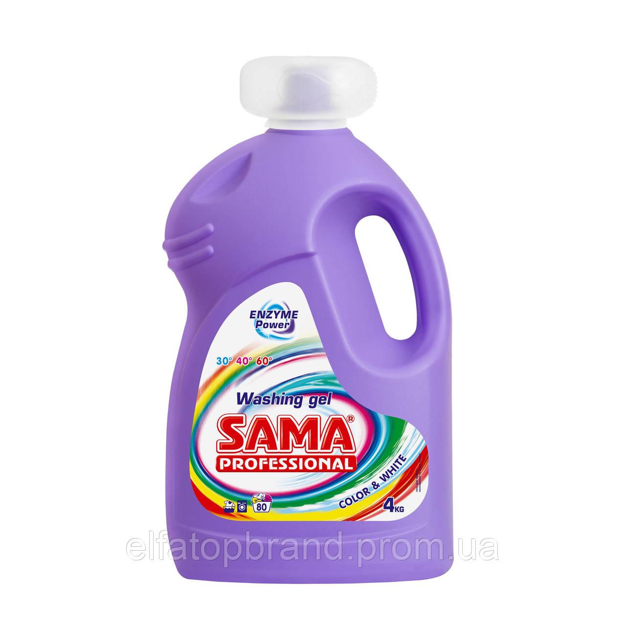 Средство Для Стирки Гель Универсальный Для Белых И Цветных Вещей SAMA PROFESS[ONAL Color&White 4000 мл