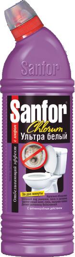 Средство Моющее Чистящее Отбеливающее Для ванн Туалетов Раковин Ультра Белый Санфор SANFOR Chlorum  750 мл