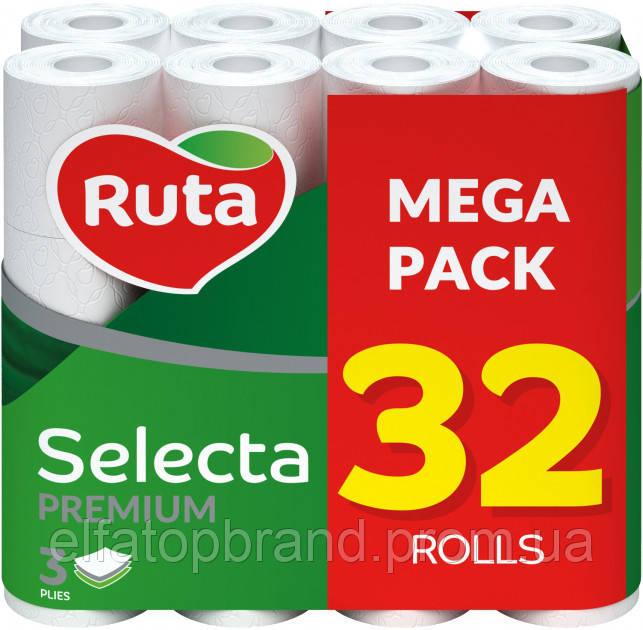 Туалетная Бумага Трехслойная Рулонная Рута Классик Премиум Ruta Classic Selecta Premium Mega Pack Белая 32 шт