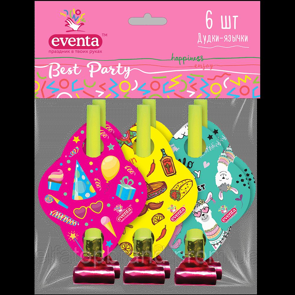 Дудки Язички Пластикові З Картонним Декором Зірки Best Party Евента EVENTA 6 шт