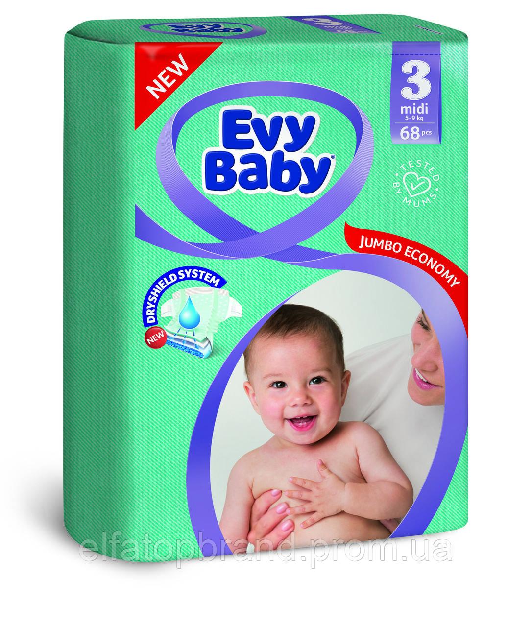 Підгузники Дитячі EVY BABY Еві Бебі MIDI ELASTIC JUMBO № 3 (5-9 кг) 68 шт
