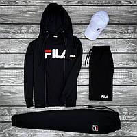 Мужской комплект Fila: кофта черная + футболка черная + штаны черные + шорты черные + кепка белая
