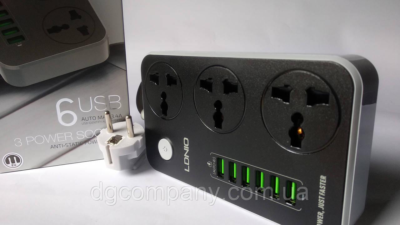 Подовжувач мережевий фільтр Ldnio SE3604 3 розетки+6 USB