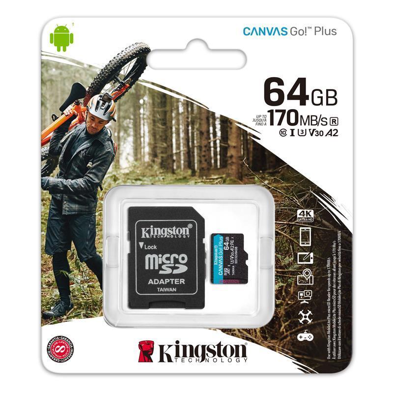 Карта пам'яті Kingston 64GB microSDXC C10 UHS-I U3 A2 R170/W90MB/s Canvas Go Plus + SD адаптер
