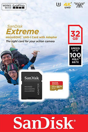 Карта пам'яті SanDisk 32GB microSDHC V30 UHS-I U3 R100/W60MB/s Extreme Action + SD, фото 2