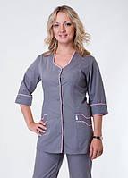 "Распродажа Медицинский костюм женский 48, 50, 56 размер ""Health Life"" х/б серый 2233"