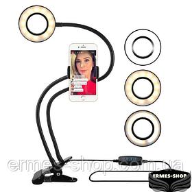 Кольцевая LED лампа | Ножка с прищепкой | 1 крепл.тел. | USB | 9см