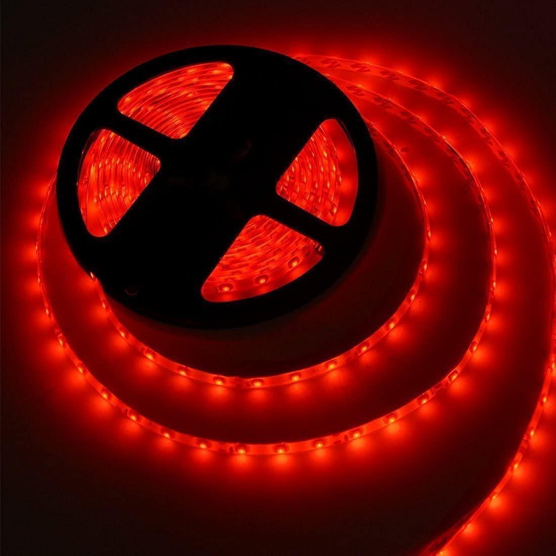Стрічка червона 14,4W/м вологозихищена 60LED/м IP65 світлодіодна МТК-300RF5050-12 №1
