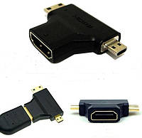 Адаптер 2 в 1 для стандартного HDMI кабеля, переходник HDMI - miniHDMI - microHDMI, стандарт HDMI 1.4, фото 1
