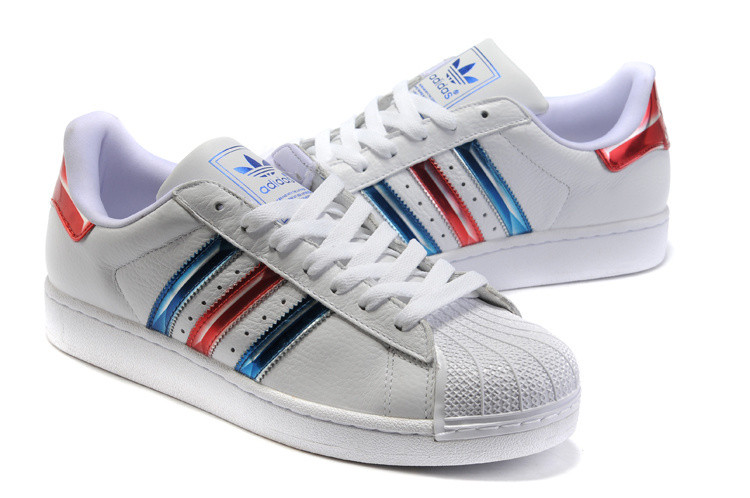 Женские кроссовки Adidas Superstar White Blue Red Old School