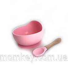 Тарілочка+дерев'яна ложка (рожевий кварц)