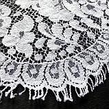 Ажурне французьке мереживо шантильї (з віями) білого кольору шириною 16,5 см, довжина купона 2,35 м., фото 6