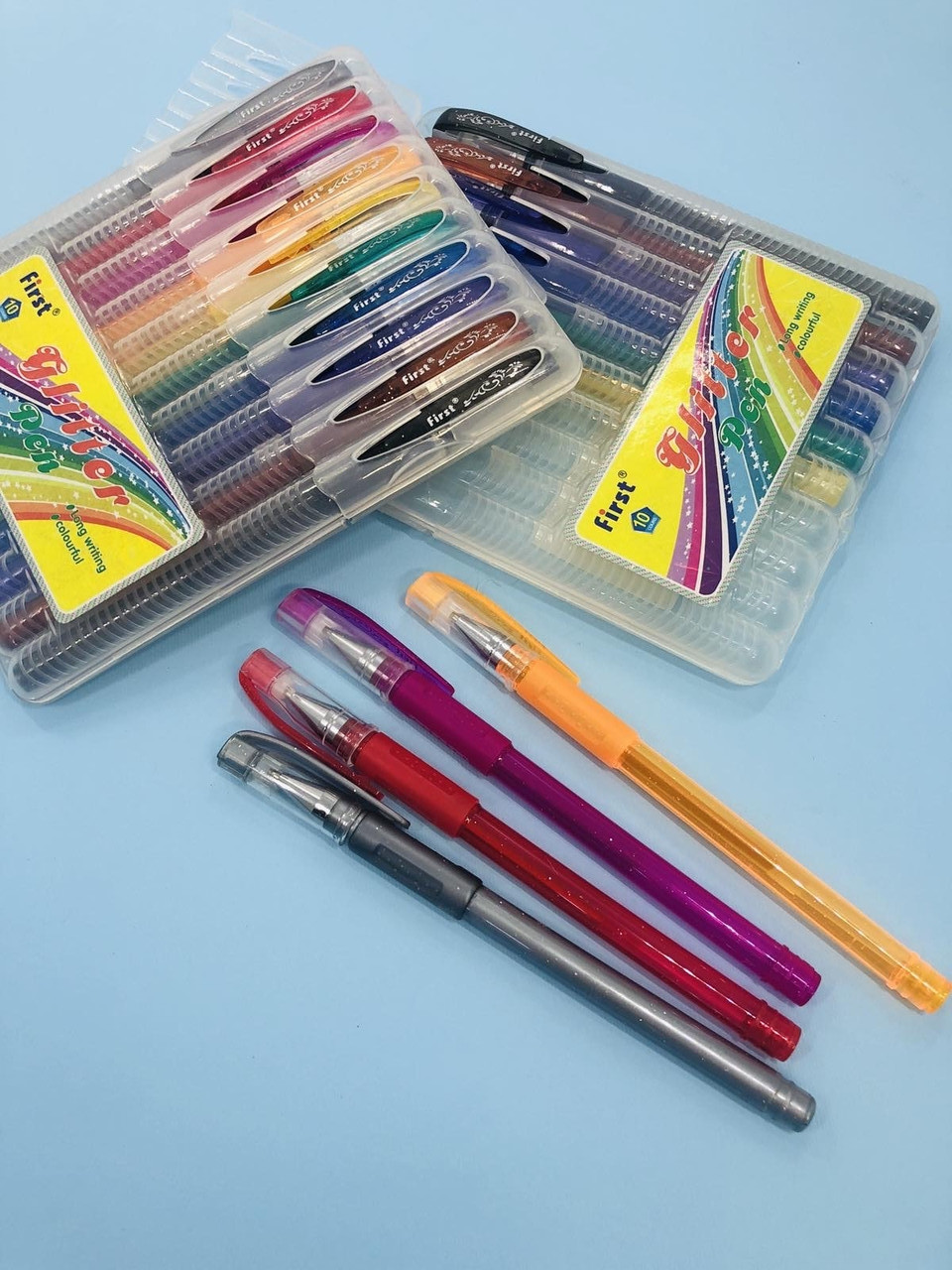 Набір кольорових гелевих ручок з блискітками First 10 шт