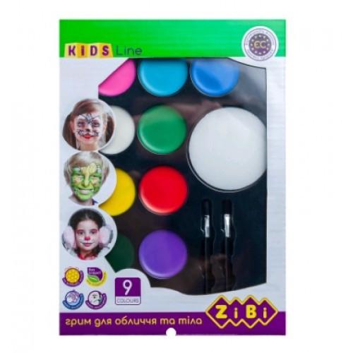 Фарба д/гриму та тіла Zibi 6570 на 9 кольори КРЕАТИВ стандарт 105г (1/12)