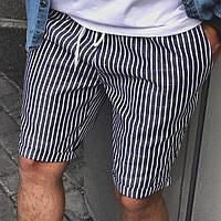 Пушечные лёгкие льняные шорты мужские серые в белую полоску