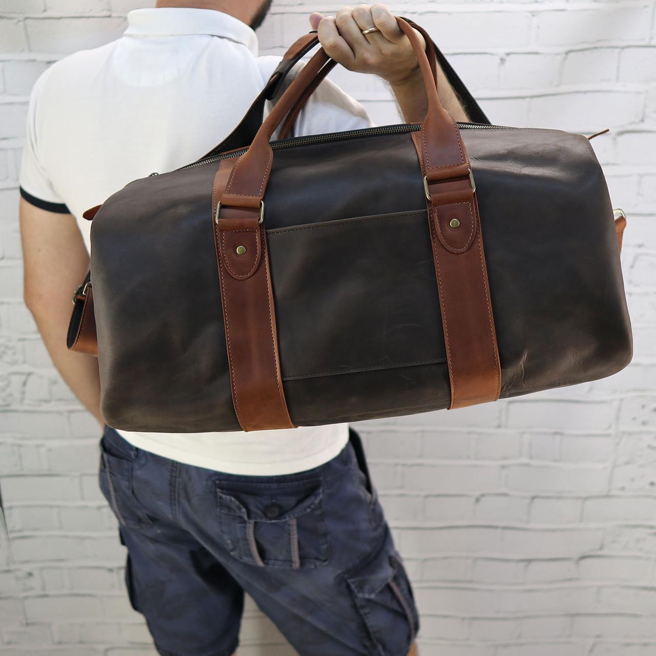 Дорожная сумка tube 2 коричневая из натуральной кожи crazy horse