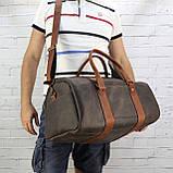 Дорожная сумка tube 2 коричневая из натуральной кожи crazy horse, фото 3