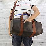Дорожная сумка tube 2 коричневая из натуральной кожи crazy horse, фото 7