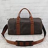 Дорожная сумка tube 2 коричневая из натуральной кожи crazy horse, фото 8
