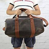 Дорожная сумка tube 2 коричневая из натуральной кожи crazy horse, фото 9