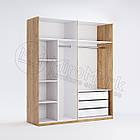 Шкаф 3дв Виола глянец белый-черный мат без зеркал ТМ Миро Марк, фото 3