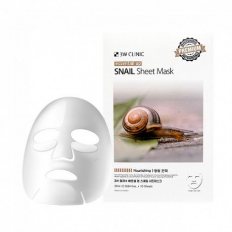 Омолаживающая маска для лица с улиткой 3w Clinic Essential Up Snail Sheet Mask 1 шт
