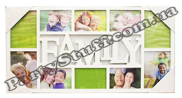 "Рамка-коллаж белая ""Family"" на 10 фото"