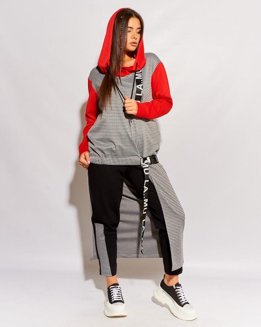 Женский брючный костюм двойка штаны и туника удлиненная сзади размер: 52, 54, 56 РАСПРОДАЖА!