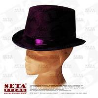 """Шляпа """"Фиолетовый Цилиндр"""" с черной лентой карнавальная."""
