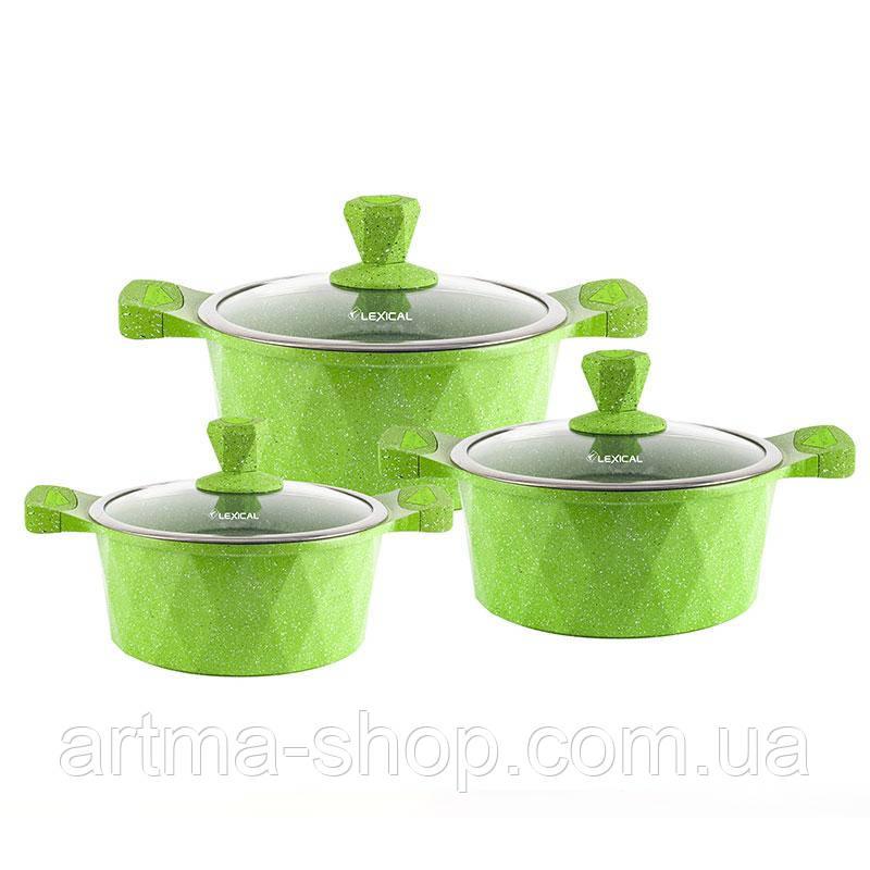 Набор посуды Lexical на 6 предметов с мраморным антипригарным покрытием, Диаметр 20,24,28, 3 кастрюли, Зеленый