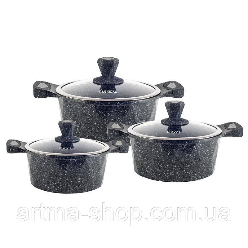 Набор посуды Lexical на 6 предметов с мраморным антипригарным покрытием, Диаметр 22,26,30, 3 кастрюли Чёрный