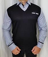Мужская рубашка обманка в полоску.