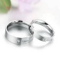 Парные кольца с цирконием Стражи Гармонии нержавеющая медицинская сталь