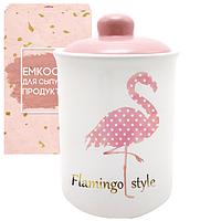 """Банка керамическая """"Flamingo style"""" 700 мл для сыпучих продуктов"""
