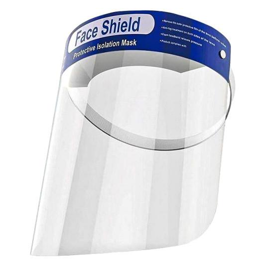 Защитный щиток экран для лица прозрачный пластик 33х22см Face Shield 5шт