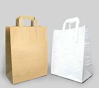 Бумажные крафт пакеты с плоской ручкой