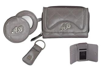 Подарочный набор: портмоне, зеркало, ключница AB collezioni Италия серого цвета