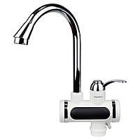 Кран-водонагреватель проточный JZ 3.0кВт 0,4-5бар для кухни гусак ухо на гайке AQUATICA (JZ-6B141W)