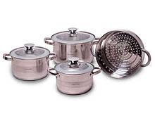 Набор посуды из нержавеющей стали Kamille 7 предметов 2,9л/3,9л/6,5л (4502S)
