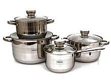 Набор посуды из нержавеющей стали Edenberg 4 шт 2,9л/3,9л/6,5л/2,1л (EB-3707)
