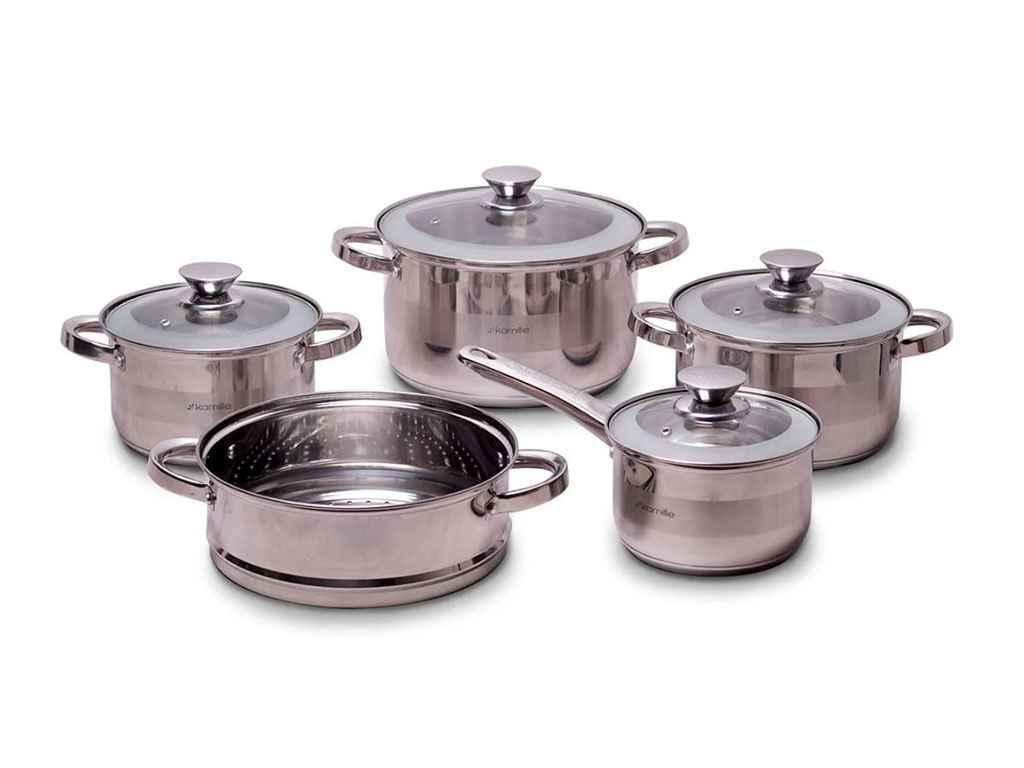 Набор посуды из нержавеющей стали Kamille 9 предметов (4505S)