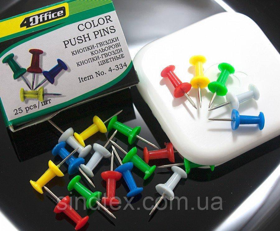 Кнопки гвоздики цветные 4Office, 25шт (сп7нг-3849)