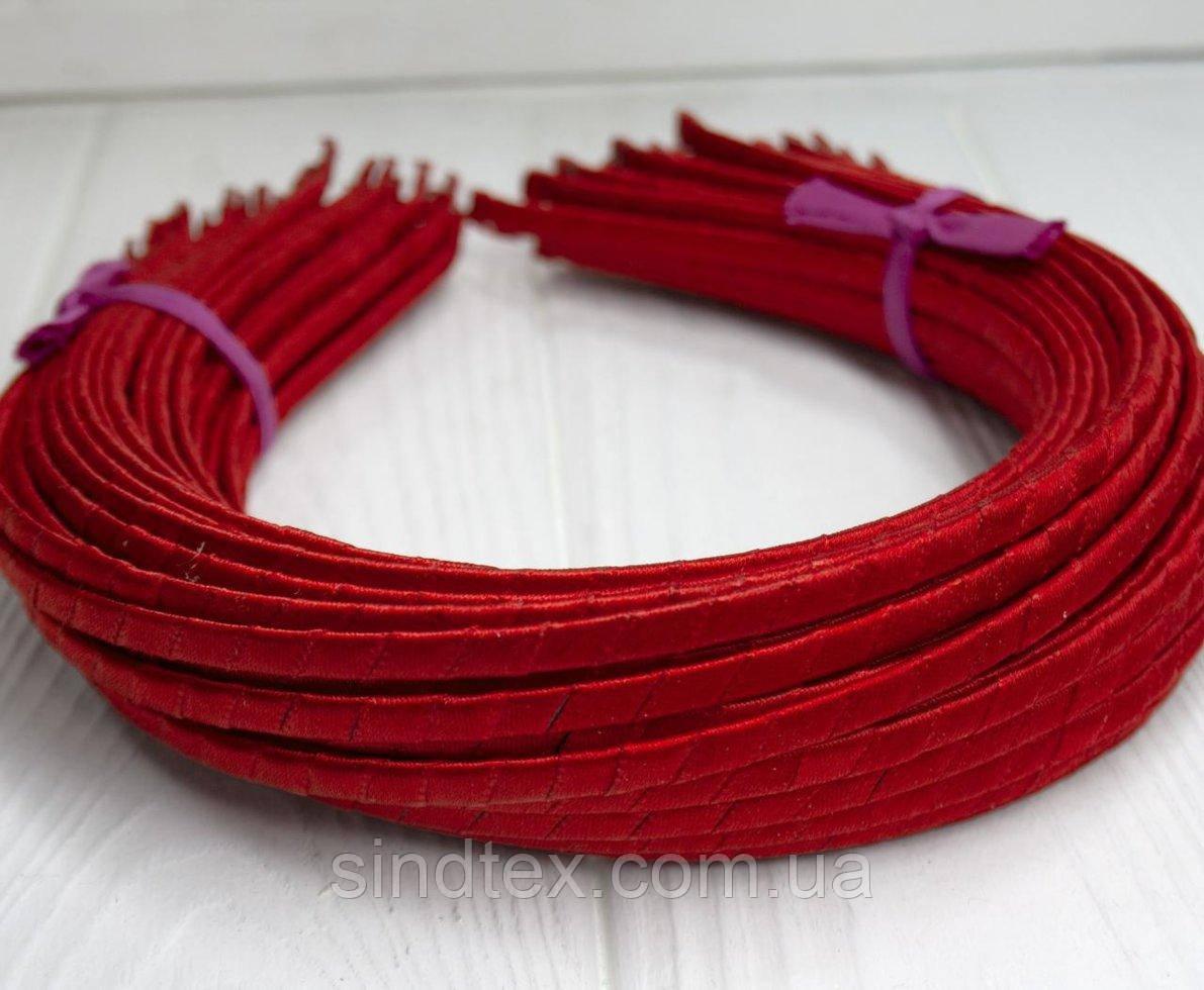 Обруч для волос обмотанный атласной лентой  (5мм металлический).Цена за 50 шт. Цвет - красный (сп7нг-3821)