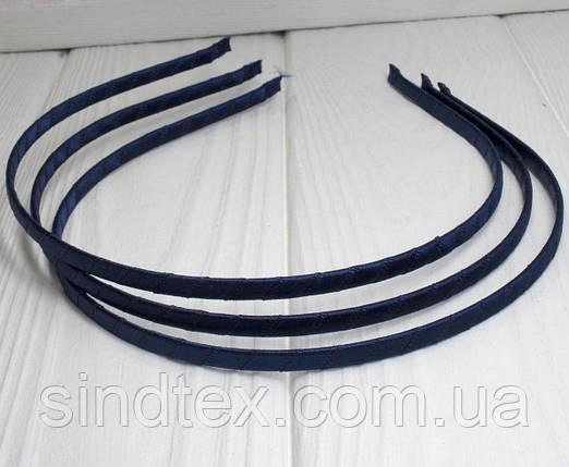 Обруч для волос обмотанный атласной лентой (ширина 5мм). Цвет - ТЕМНО СИНИЙ (сп7нг-3852), фото 2