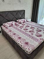 Комплект с простыней на резинке на матрас 180*200 см Турция №7 Сиреневая, фото 1