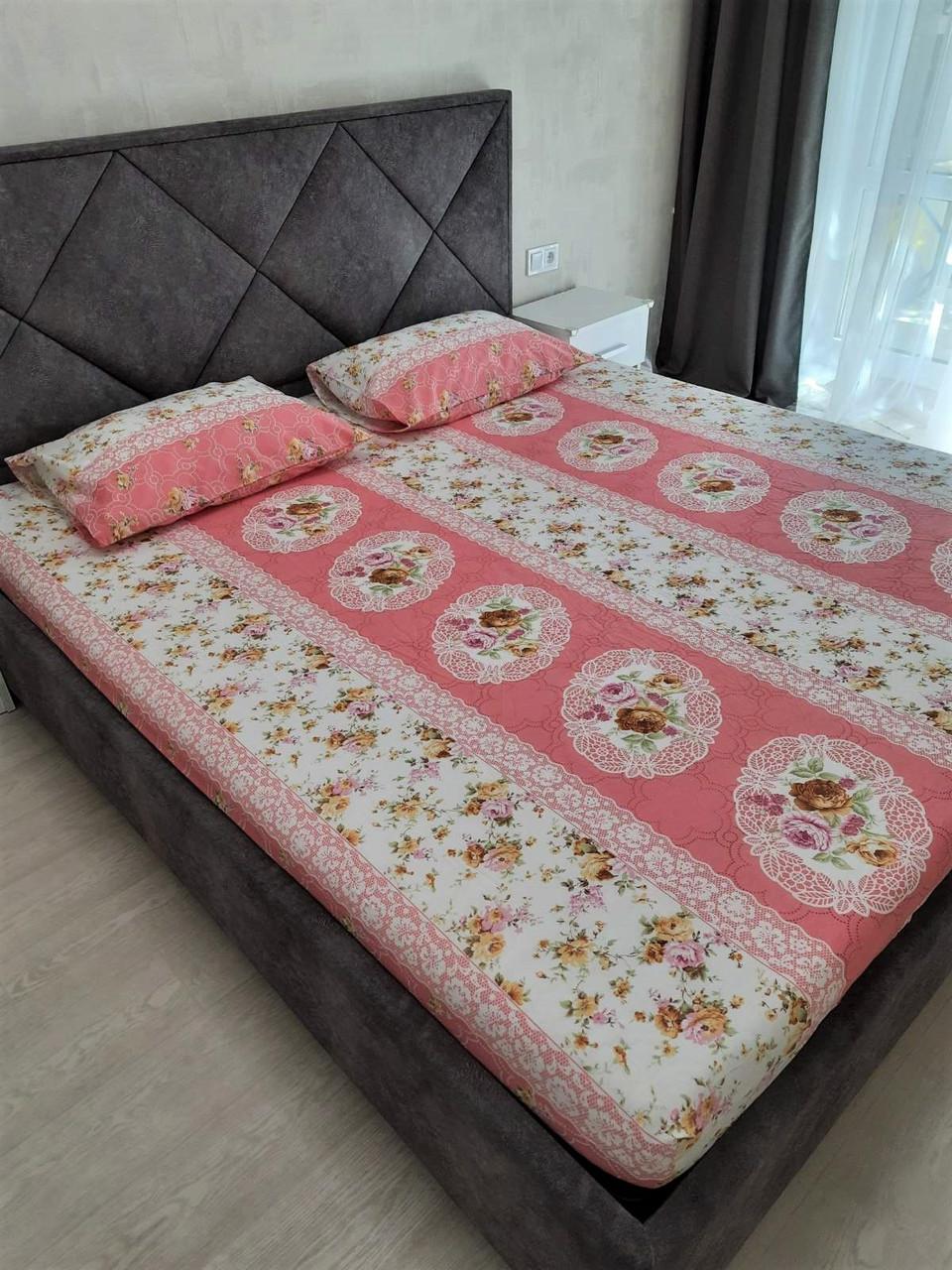 Комплект с простыней на резинке на матрас 180*200 см Турция №5 Розовая