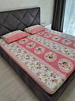 Комплект с простыней на резинке на матрас 180*200 см Турция №5 Розовая, фото 1