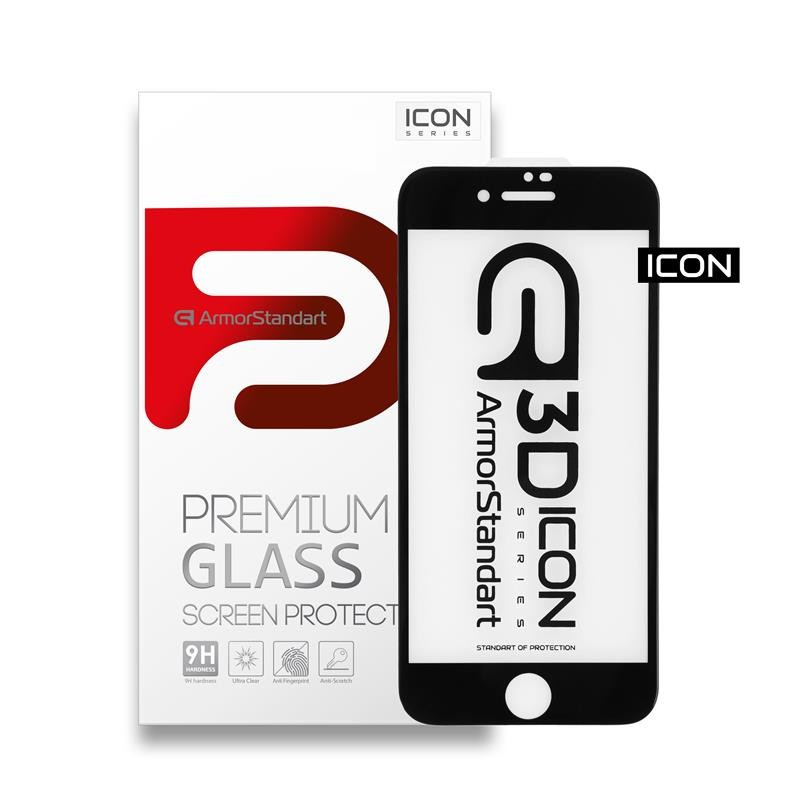 Защитное стекло Armorstandart Icon для Apple iPhone SE 2020/8/7 Black, 0.33mm, 3D (ARM55980-GI3D-BK)