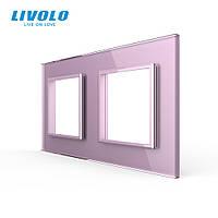 Рамка розетки Livolo 2 поста рожевий скло (VL-C7-SR/SR-17), фото 1