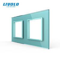 Рамка розетки Livolo 2 поста зеленый стекло (VL-C7-SR/SR-18), фото 1